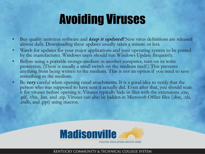 Avoiding Viruses