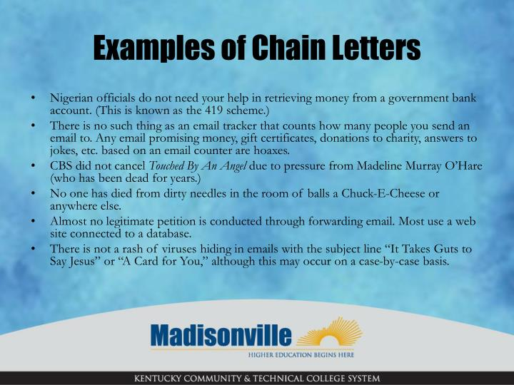 Examples of Chain Letters