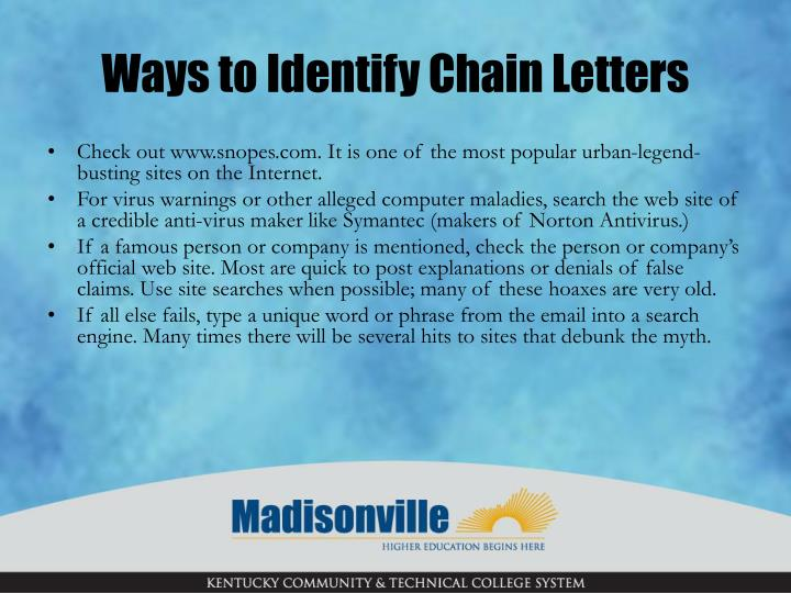 Ways to Identify Chain Letters