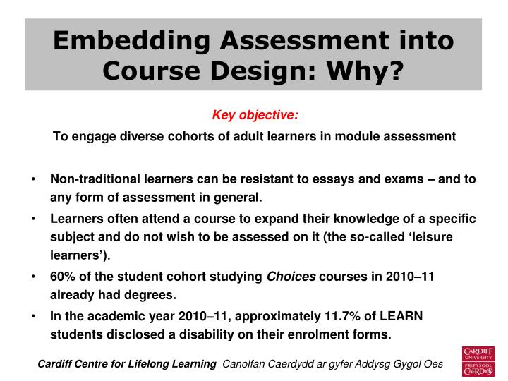 Embedding Assessment into Course Design: Why?