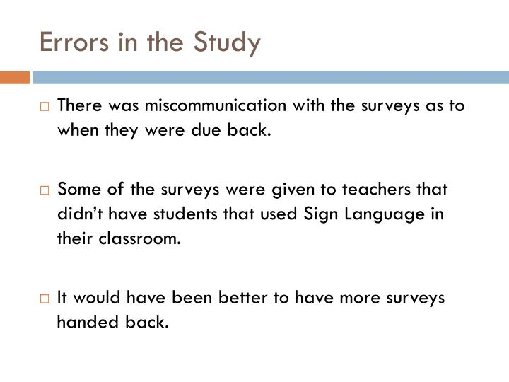 Errors in the Study
