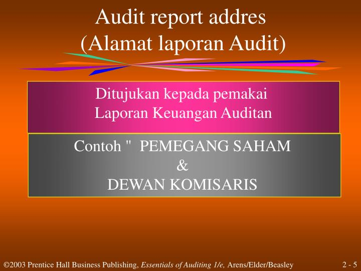 Audit report addres