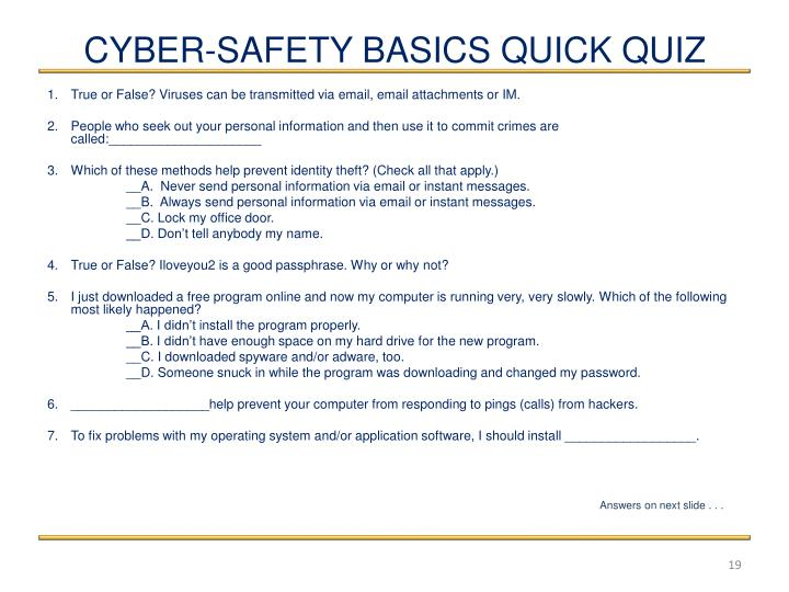CYBER-SAFETY BASICS QUICK QUIZ