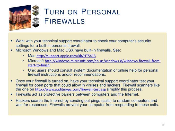 Turn on Personal Firewalls