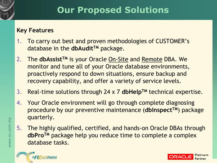 Our Proposed Solutions
