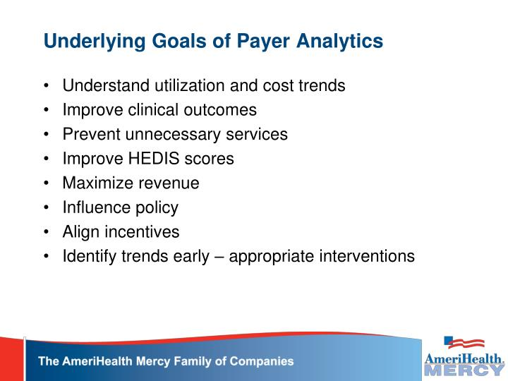 Underlying goals of payer analytics
