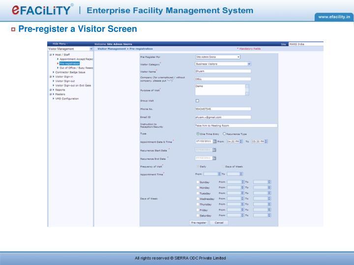 Pre-register a Visitor Screen