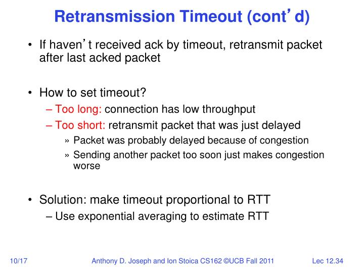 Retransmission Timeout (cont