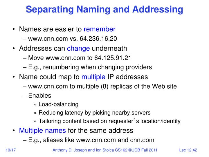 Separating Naming and Addressing