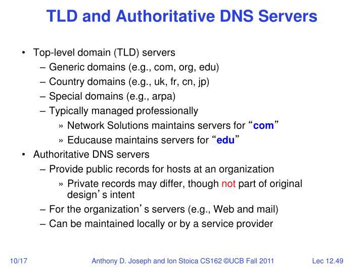 TLD and Authoritative DNS Servers