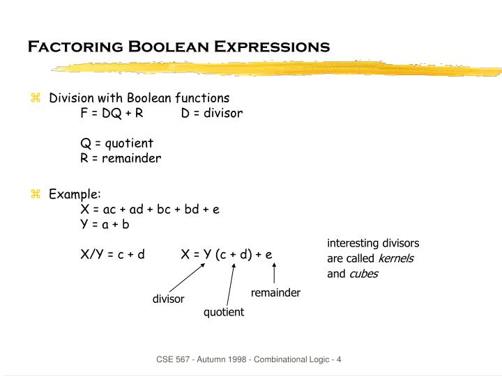 Factoring Boolean Expressions