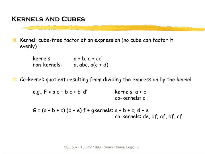 Kernels and Cubes