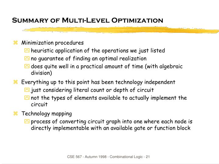 Summary of Multi-Level Optimization