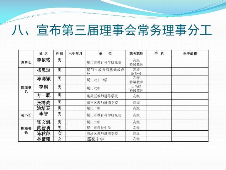 八、宣布第三届理事会常务理事分工
