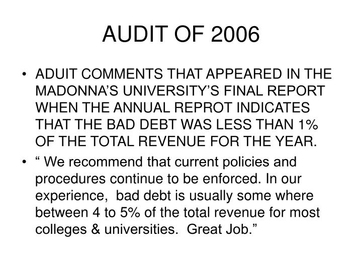 AUDIT OF 2006