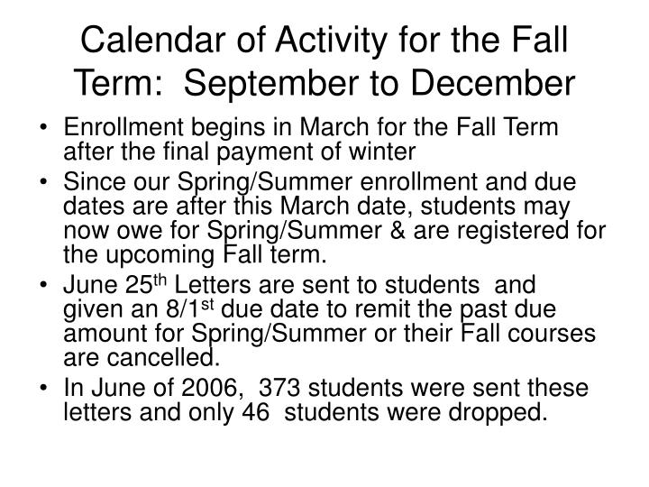 Calendar of Activity for the Fall Term:  September to December
