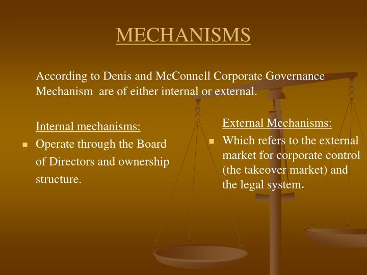 According to Denis and McConnell Corporate Governance Mechanism  are of either internal or external.