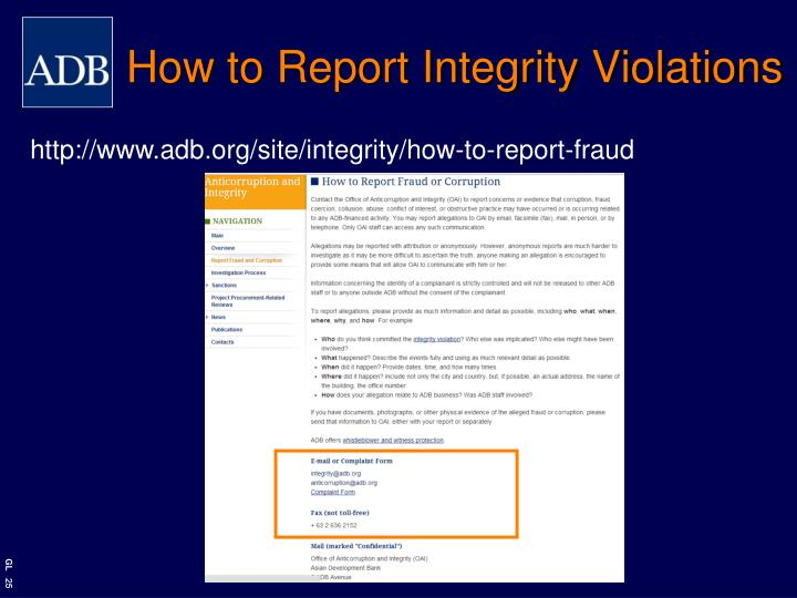 How to Report Integrity Violations