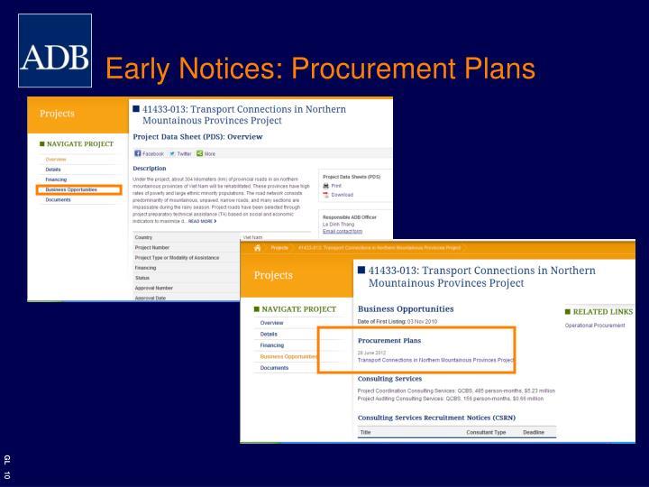 Early Notices: Procurement Plans