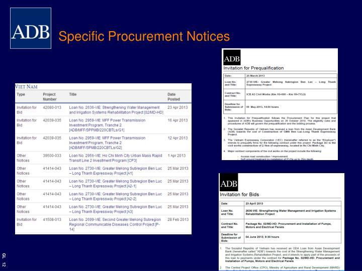 Specific Procurement Notices