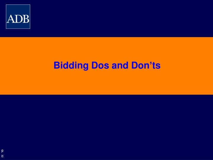 Bidding Dos and Don'ts