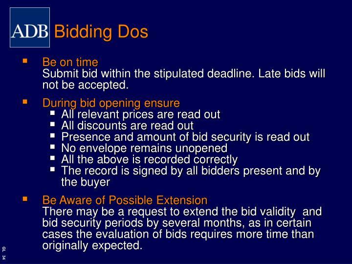 Bidding Dos