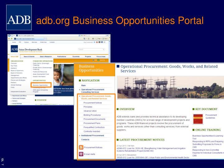 adb.org Business Opportunities Portal