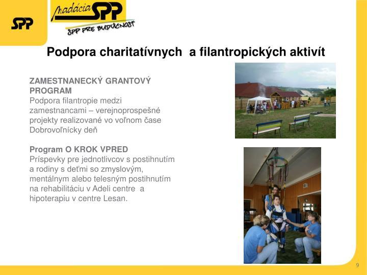 Podpora charitatívnych  afilantropických aktivít