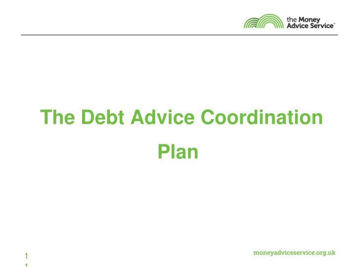 The Debt Advice Coordination Plan