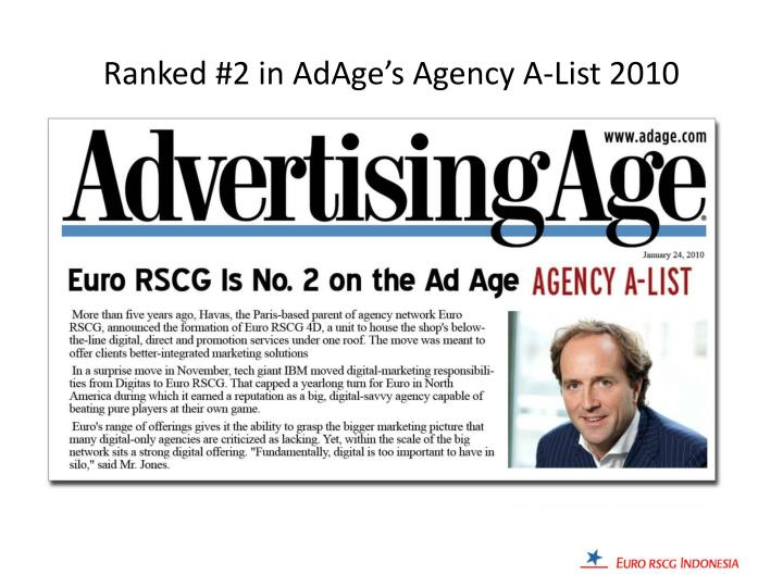 Ranked #2 in AdAge's Agency A-List 2010