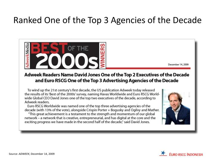 Ranked One of the Top 3 Agencies of the Decade
