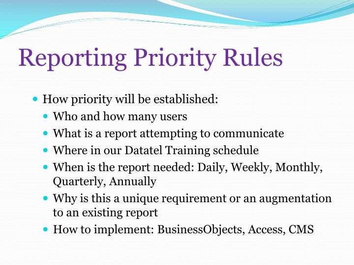 Reporting Priority Rules