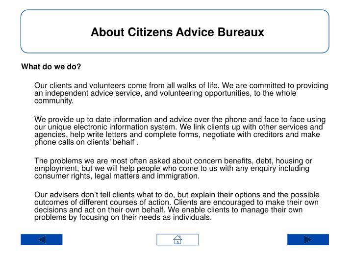 About Citizens Advice Bureaux