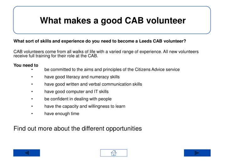 What makes a good CAB volunteer
