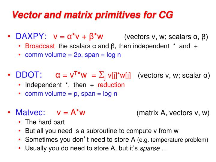 Vector and matrix primitives for CG