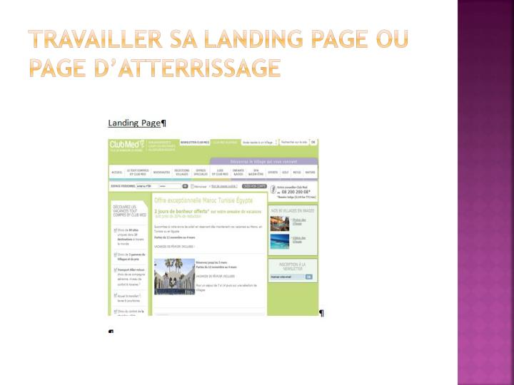 Travailler sa landing page ou page d'atterrissage