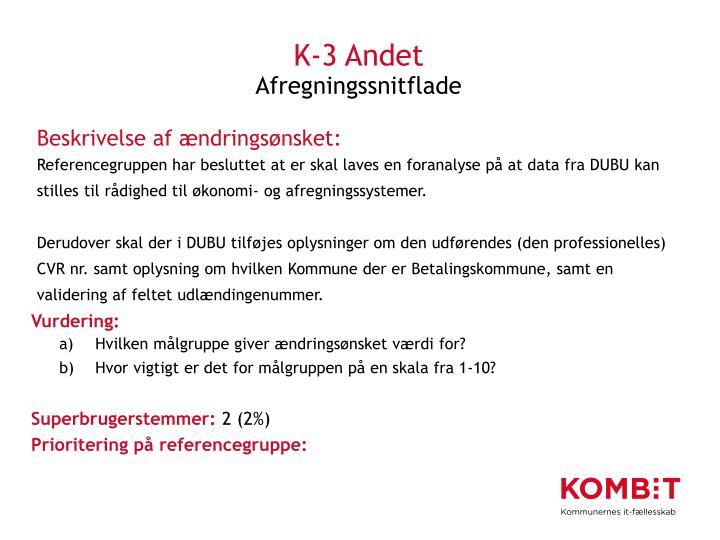 K-3 Andet