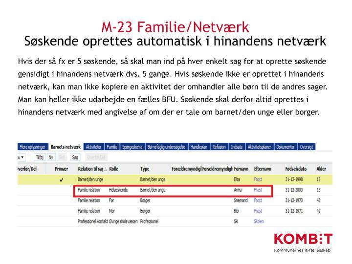 M-23 Familie/Netværk
