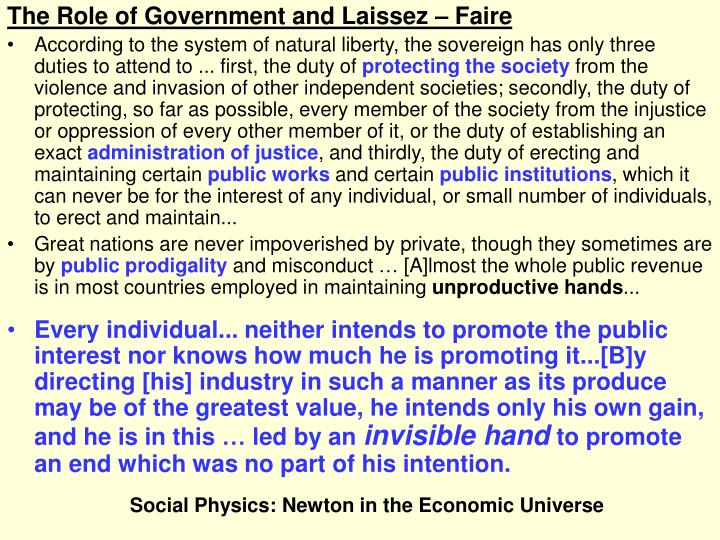 The Role of Government and Laissez – Faire