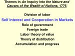 themes in an inquiry into the nature and causes of the wealth of nations 1776