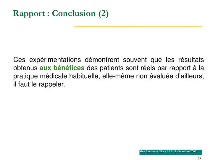 Rapport : Conclusion (2)
