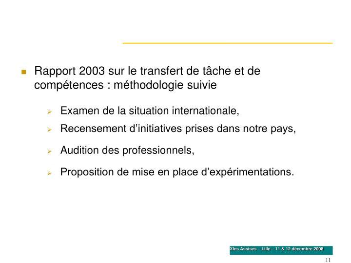 Rapport 2003 sur le transfert de tâche et de compétences : méthodologie suivie