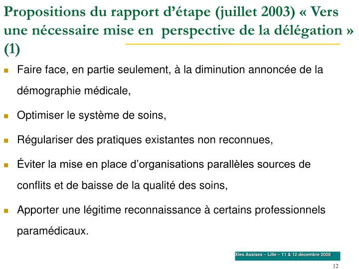 Propositions du rapport d'étape (juillet 2003) «Vers une nécessaire mise en  perspective de la délégation» (1)