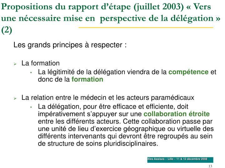 Propositions du rapport d'étape (juillet 2003) «Vers une nécessaire mise en  perspective de la délégation» (2)