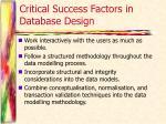 critical success factors in database design