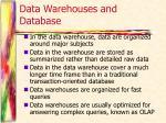data warehouses and database