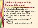 database management for strategic advantage