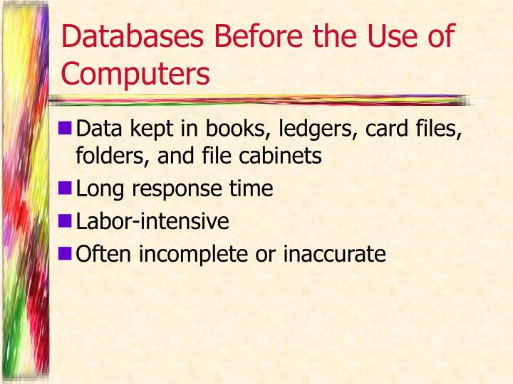 Databases before the use of computers