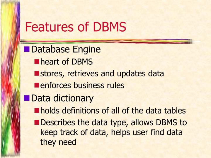 Features of DBMS