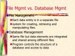 file mgmt vs database mgmt